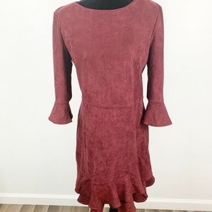 Aryeh Burgundy Wine Colored Flounce Suede Dress